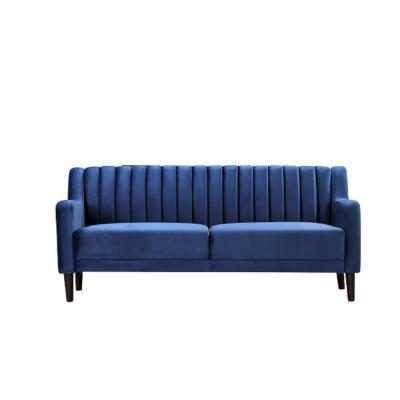 Luka 73.6 in. Dark Blue Velvet 3-Seater Lawson Sofa with Square Arms