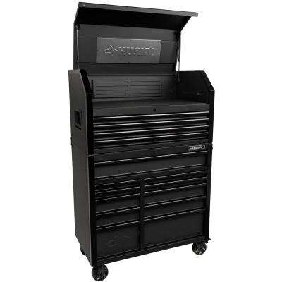 Industrial 41 in. W x 21.5 in. D 15-Drawer Tool Chest and Cabinet Combo in Matte Black