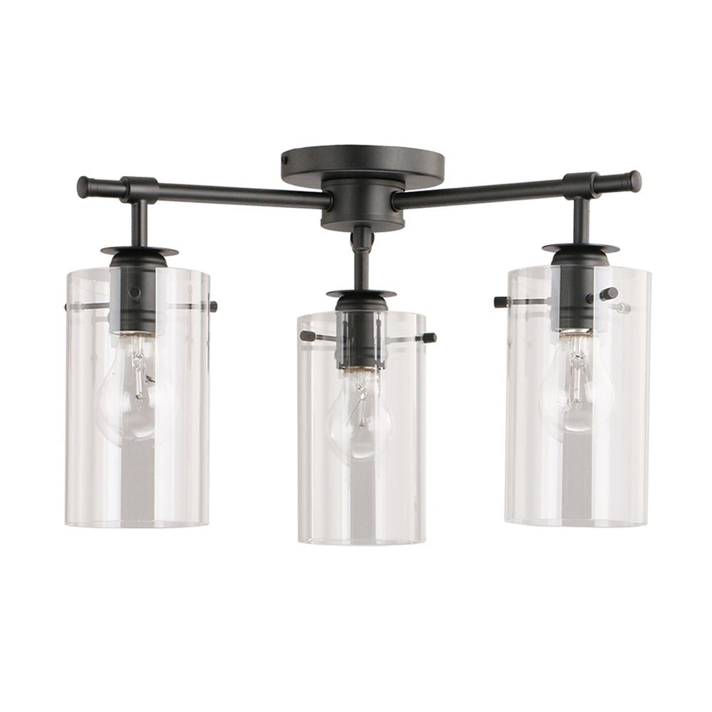 DSI Brooklyn Collection 3-Light Black Semi-Flush mount with Clear Glass Shades