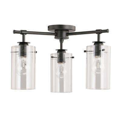 3-Light Black Semi-Flush mount with Clear Glass Shades