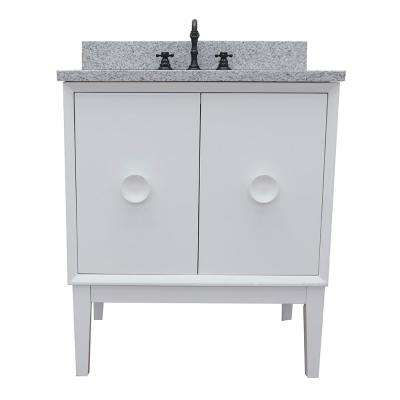 Stora 31 in. W x 22 in. D Bath Vanity in White with Granite Vanity Top in Gray with White Rectangle Basin