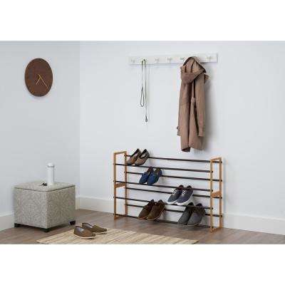 20-Pair Bamboo Expandable Shoe Rack