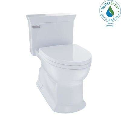 Eco Soiree 1-Piece 1.28 GPF Single Flush Elongated Skirted Toilet with CeFiONtect in Cotton White