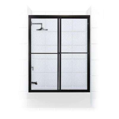Newport Series 52 in. x 56 in. Framed Sliding Tub Door with Towel Bar in Black Bronze and Aquatex Glass