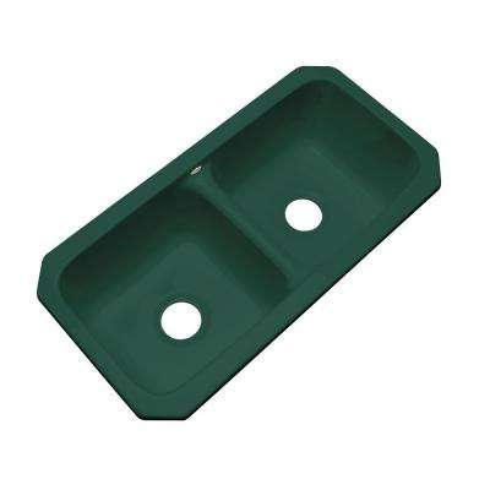 Brighton Undermount Acrylic 33 in. Double Bowl Kitchen Sink in Rain Forest