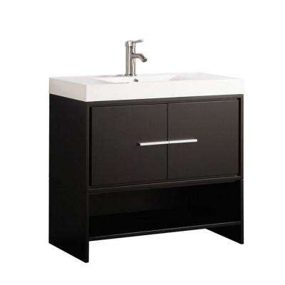Cypress 36 in. W x 18 in. D x 36 in. H Vanity in Espresso with Acrylic Vanity Top in White with White Basin