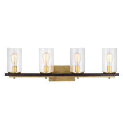 Boswell Quarter 4-Light Vintage Brass Vanity Light with Black Distressed Wood Accents