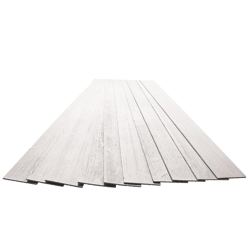 3/16 in. x 5-1/8 in. x 46-1/2 in. Beachwood White Rustic Pine Wood Plank Self-Adhesive (10-Pack)