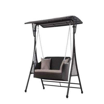 3-Seats Brown Wicker Patio Swing