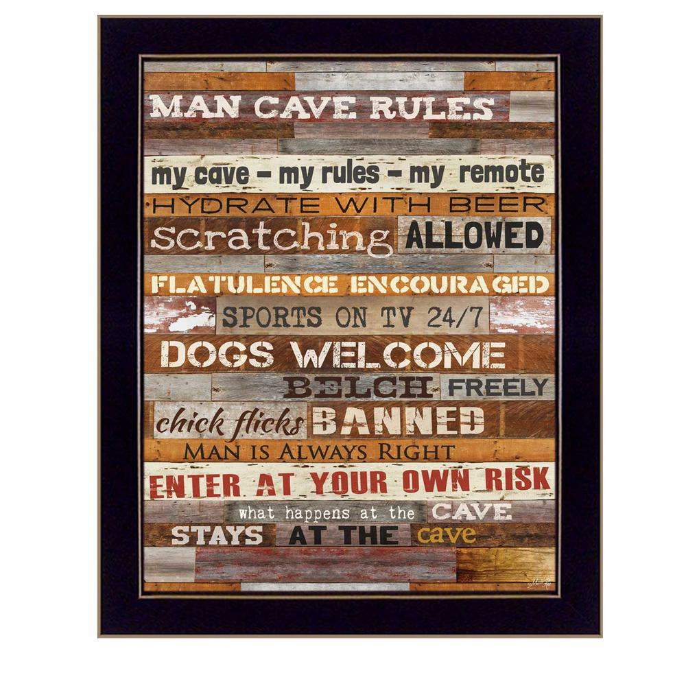 "Living Life Bonnie Mohr Quote 18 Inx 14 In''man Cave Rules""marla Rae Printed Framed Wall"