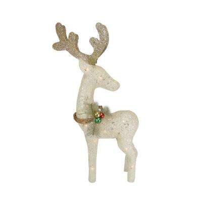 37 in. Christmas Lighted Sisal Standing Reindeer Outdoor Decoration