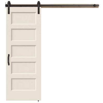 30 in. x 84 in. Conmore Primed Smooth Molded Composite MDF Barn Door with Rustic Hardware Kit