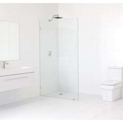 38 in. x 78 in. Frameless Fixed Shower Door in Brushed Nickle without Handle