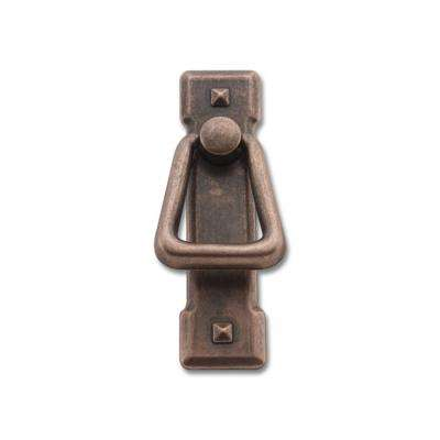 2-7/32 in. Center-to-Center Antique Copper Cast Metal Drop Drawer Pull