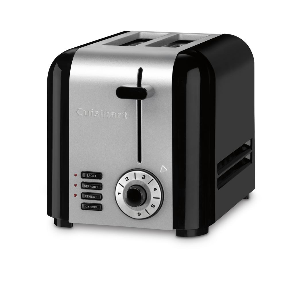 Cuisinart Compact 2 Slice Black Stainless Steel Wide Slot Toaster Cpt 320 The Home Depot