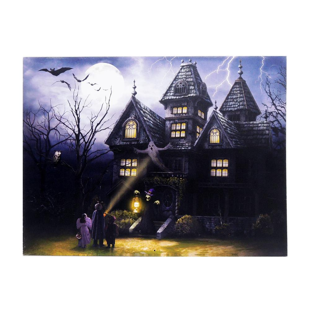 Home Accents Holiday 15 in. x 20 in. Halloween Haunted House LED Canvas with Sound