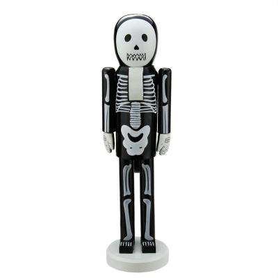 14 in. Black and White Skeleton Wooden Halloween Nutcracker