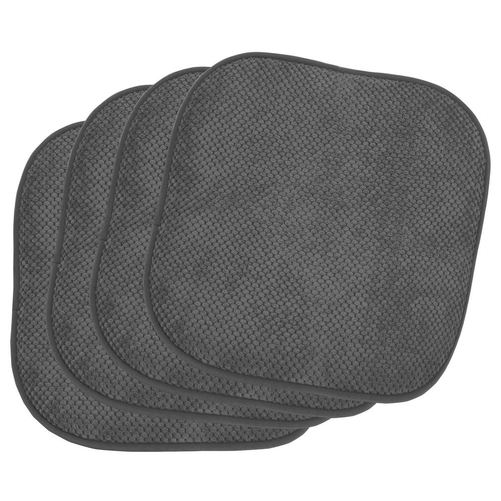Bon Appetite Dark Gray 4-Piece Cushioned Chair Pad Set