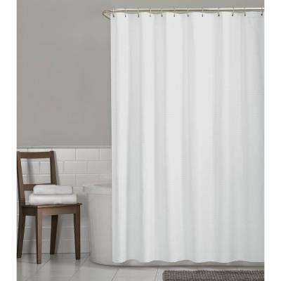 Luxury Spa Waffle 70 in. x 72 in. Fabric Shower Curtain in White
