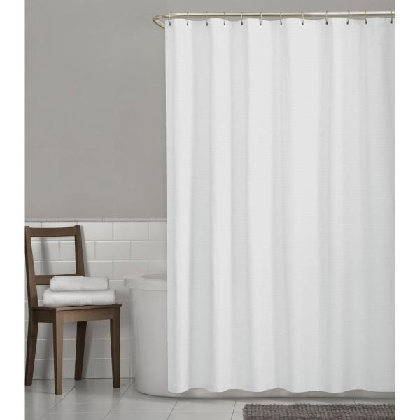 Glacier Bay Luxury Spa Waffle 70 In X 72 In Fabric Shower Curtain In White 7272401 The Home Depot