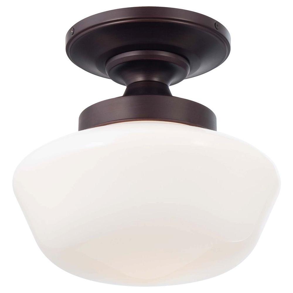 1-Light Brushed Bronze Semi-Flush Mount Light