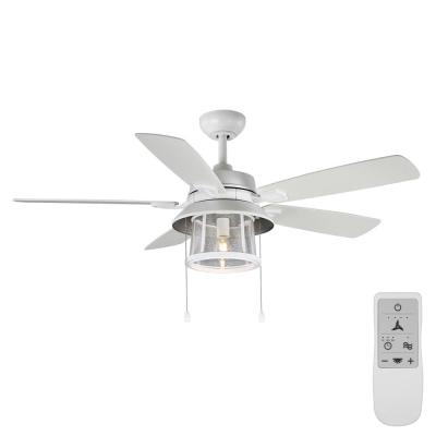 Shanahan 52 in. Matte White LED Ceiling Fan with Light Kit Works with Google Assistant and Alexa