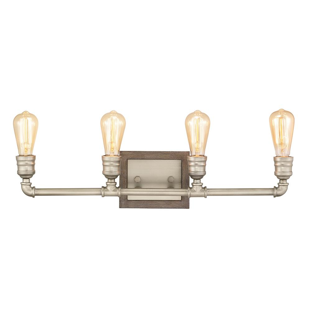 Home Decorators Collection Palermo Grove 4-Light Antique Nickel Bath Light with Painted Weathered Gray Wood Accents
