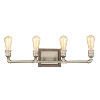 Palermo Grove 4-Light Antique Nickel Vanity Light with Painted Weathered Gray Wood Accents