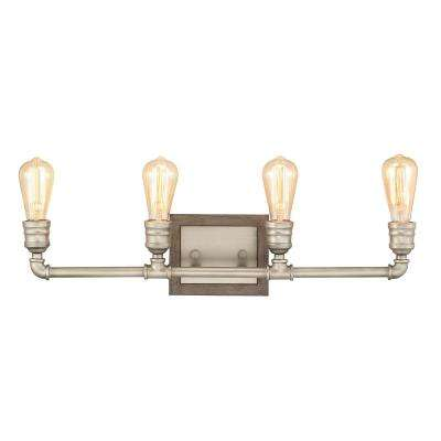 Palermo Grove 4-Light Antique Nickel Bath Light with Painted Weathered Gray Wood Accents