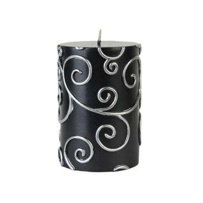 3 in. x 4 in. Black Scroll Pillar Candle Bulk (12-Case)
