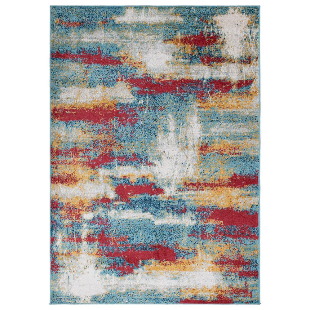 OTTOMANSON Ottomanson Rixos Collection Multi Color / Blue 5 ft. 3 in. x 7 ft. Distressed Modern Abstract Design Area Rug