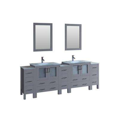96 in. W Double Bath Vanity with Tempered Glass Vanity Top in White with White Basin and Mirror