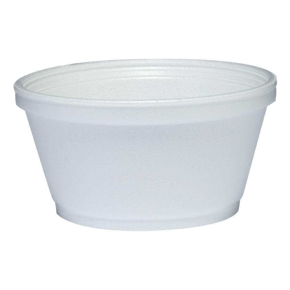 DART Insulated Foam Bowl, 8 oz., White, 1000 Per Case