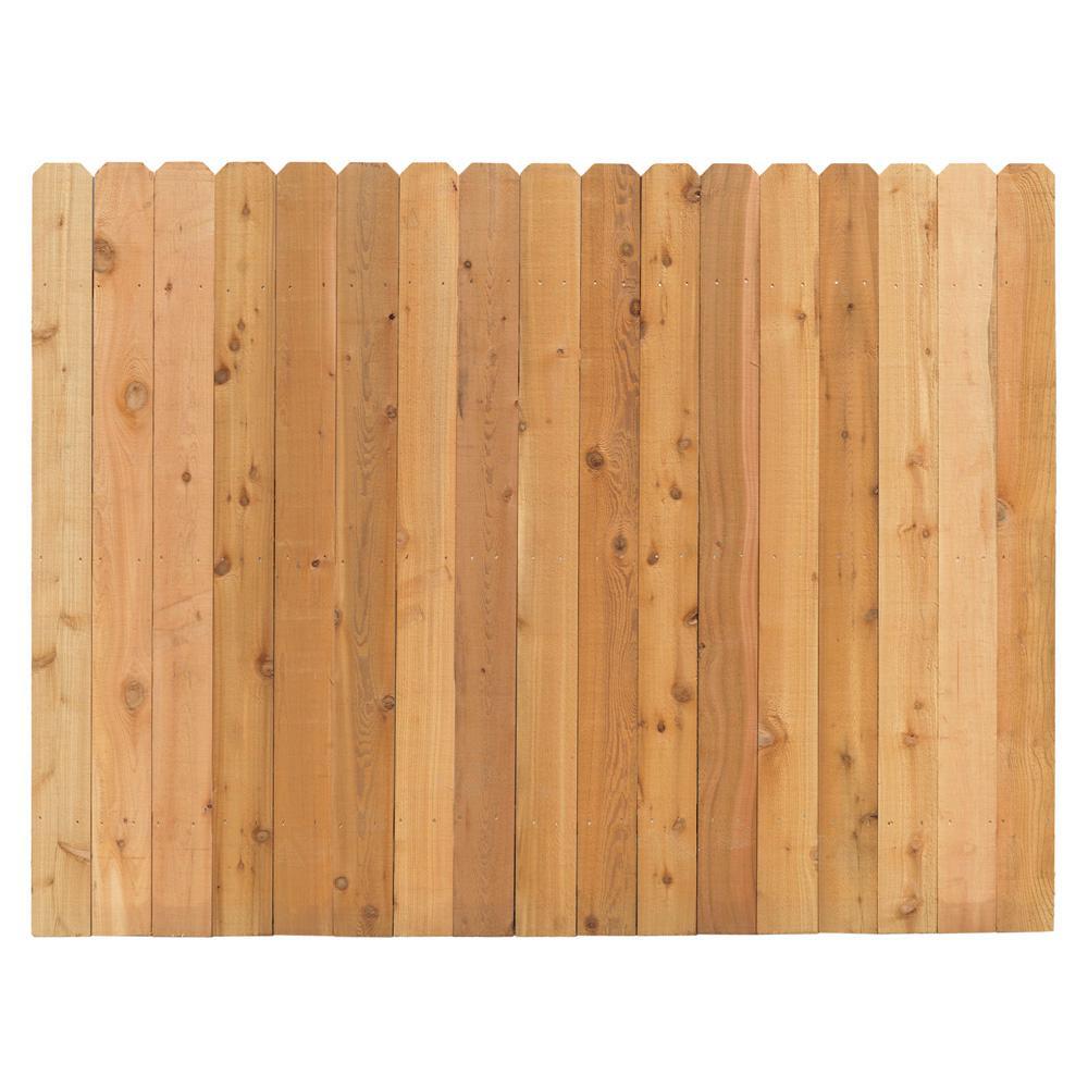 Cedar Dog Ear Fence Panel Rails The Home Depot