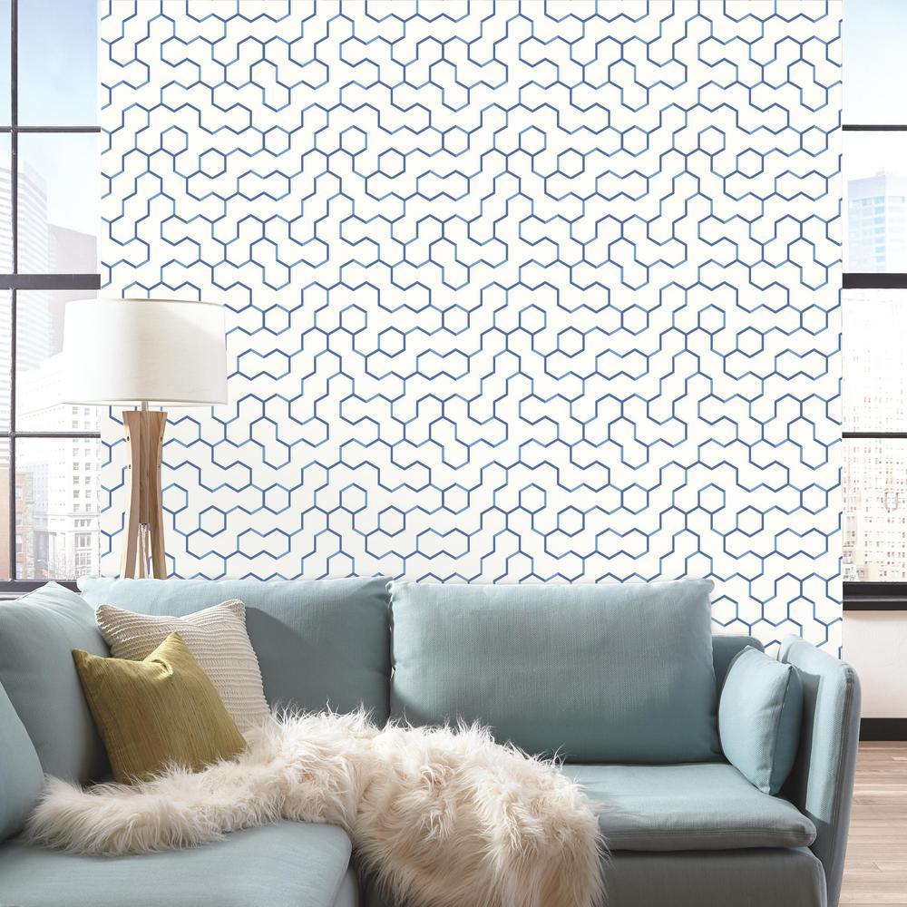 Bathroom Wallpaper Accent Wall Self Stick: RoomMates 28.18 Sq. Ft. Blue Open Geometric Peel And Stick