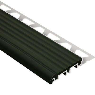 Trep-B Aluminum with Black Insert 1/2 in. x 8 ft. 2-1/2 in. Metal Stair Nose Tile Edging Trim