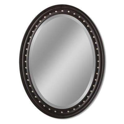 Kings Road 24 in. x 32 in. Framed Oval Single Wall Mirror in Dark Teak