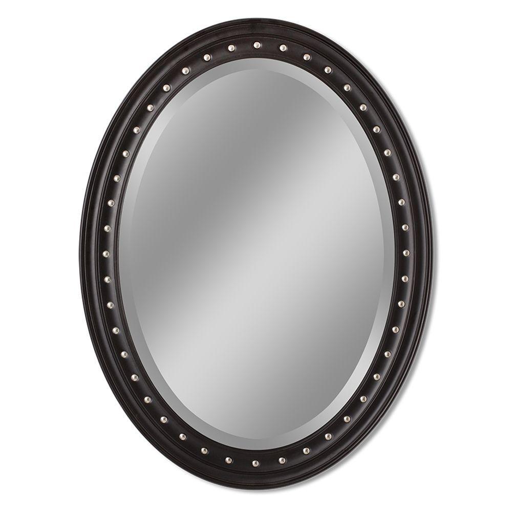 Deco Mirror Kings Road 24 inch x 32 inch Framed Oval Single Wall Mirror in Dark Teak by Deco Mirror