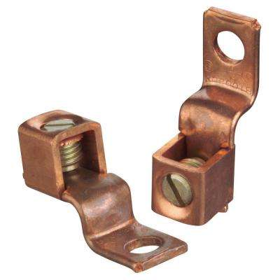 Copper Mechanical Connector #2 Stranded to #8 Stranded with Single Hole Mount (10 Pieces)