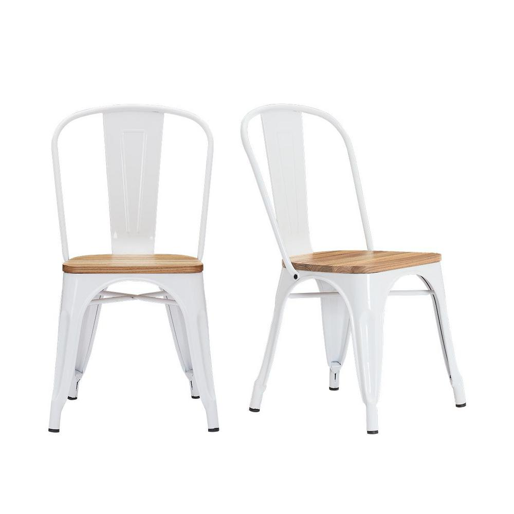 Stylewell Finwick White Metal Dining Chair (Set of 2) (17.71 in. W x 32.67 in. H)