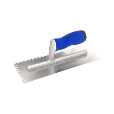 11 in. x 4-1/2 in. Square-Notched Margin Trowel with Notch Size 3/16 in. x 1/8 in. x 3/16 in. with Comfort Grip Handle
