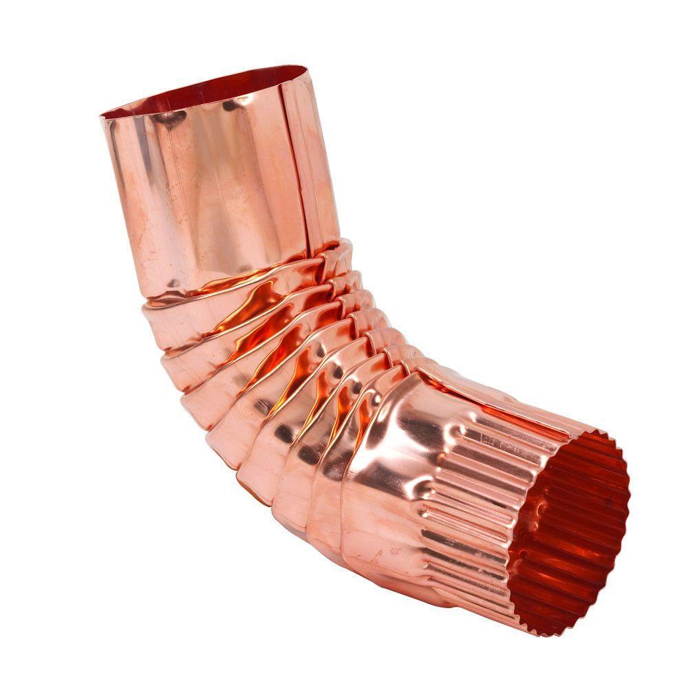 3 in. Half-Round Copper Round 75 Degree Corrugated Elbow