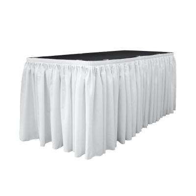 17 ft. x 29 in. Long White Polyester Poplin Table Skirt with 10 L-Clips