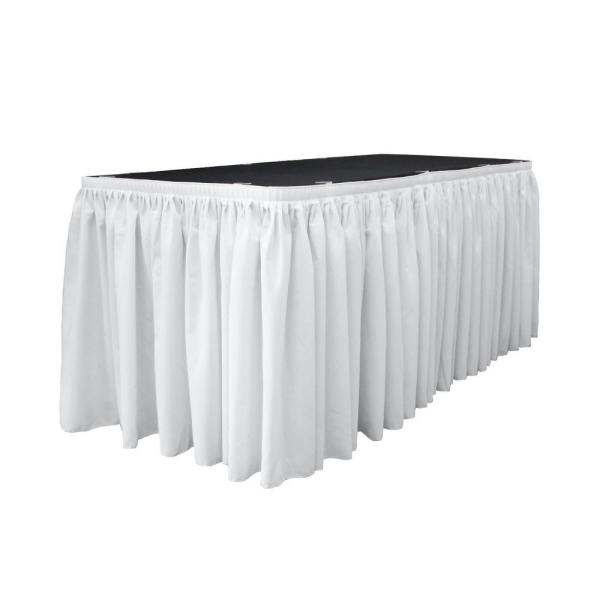 30 ft. x 29 in. Long White with 15-Large Clips Polyester Poplin Table Skirt