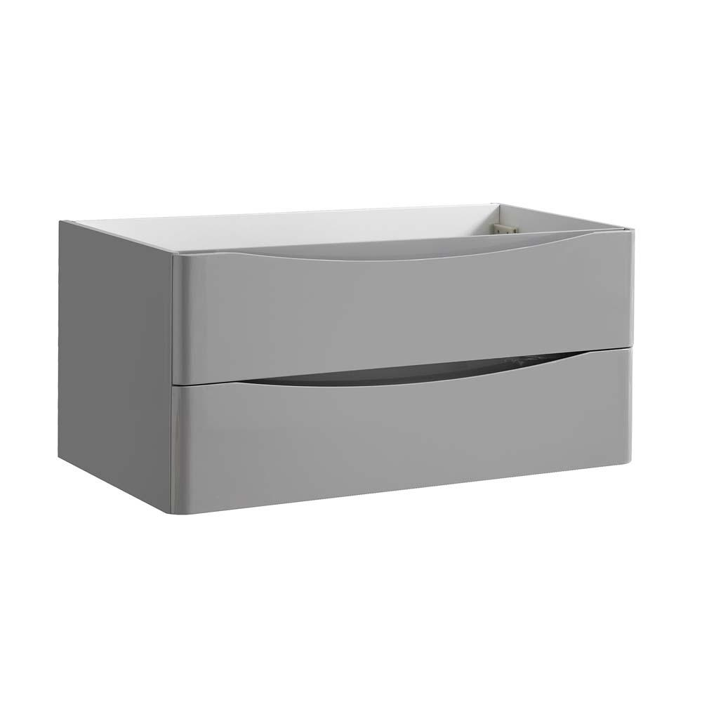 Fresca tuscany 40 in modern wall hung bath vanity cabinet only in glossy gray fcb9040grg the for Wall mounted bathroom vanity cabinet only