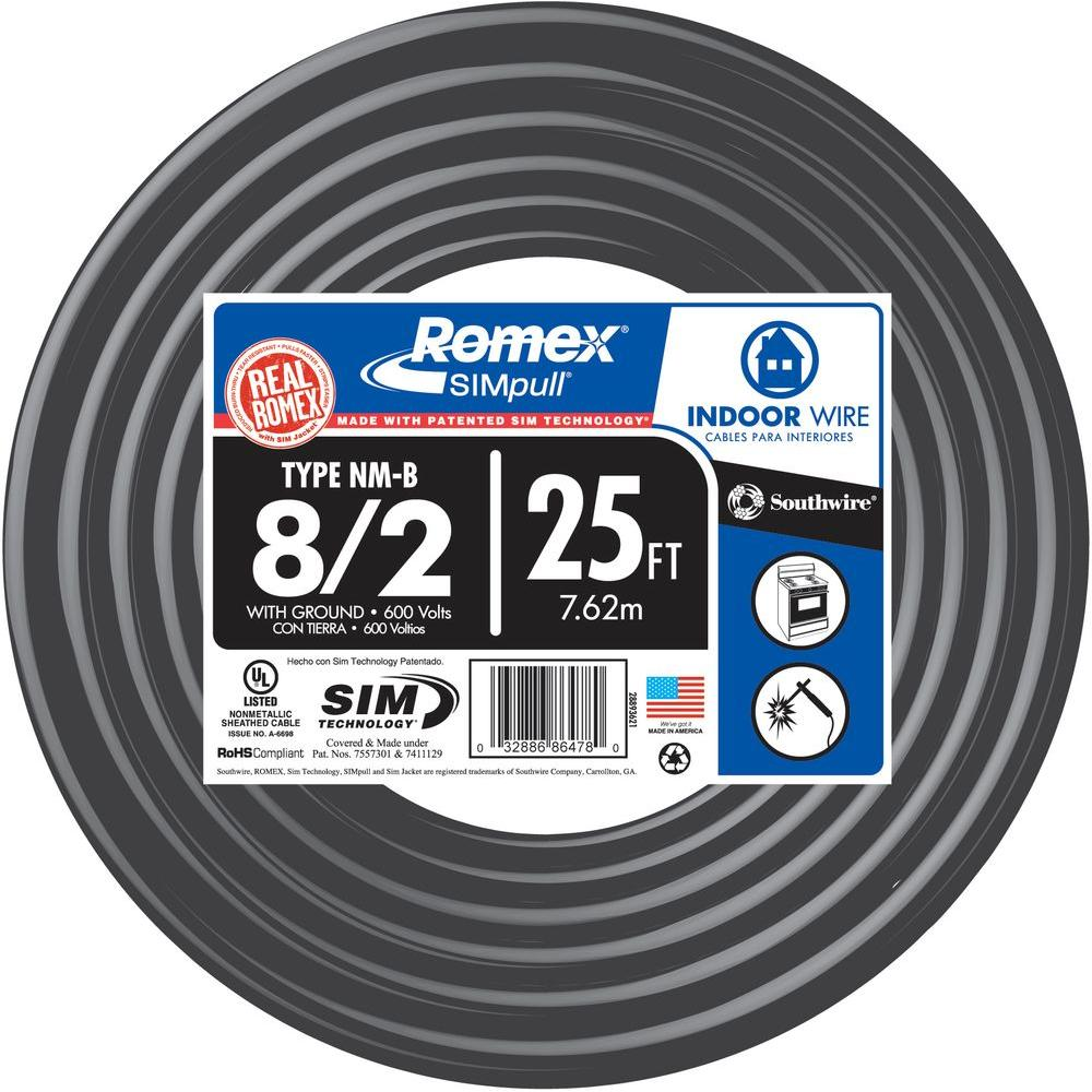 30 ft 8//2 NM-B WG Romex Wire//Cable