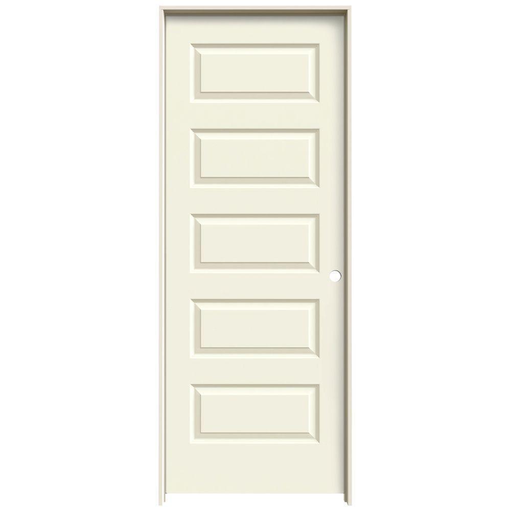 32 in. x 80 in. Rockport Vanilla Painted Left-Hand Smooth Molded Composite MDF Single Prehung Interior Door