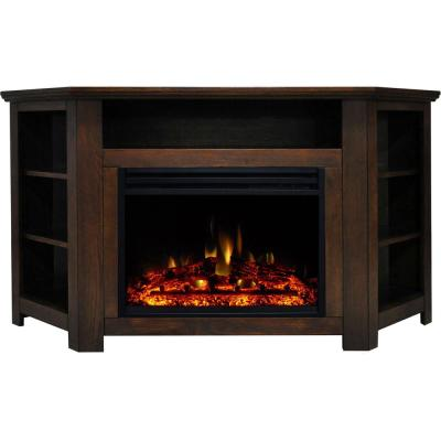 Stratford 56 in. Corner Electric Fireplace Heater TV Stand in Walnut with Enhanced Log Display and Remote