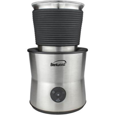 15 oz. Silver Cordless Electric Milk Frother with Warmer and Hot Chocolate Maker