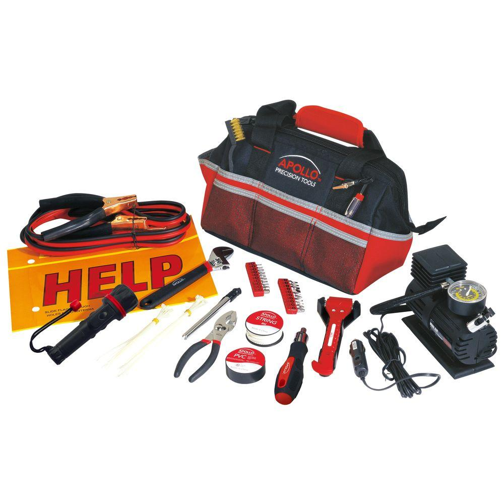 Apollo Roadside/Emergency Tool Kit with Air Compressor (5...